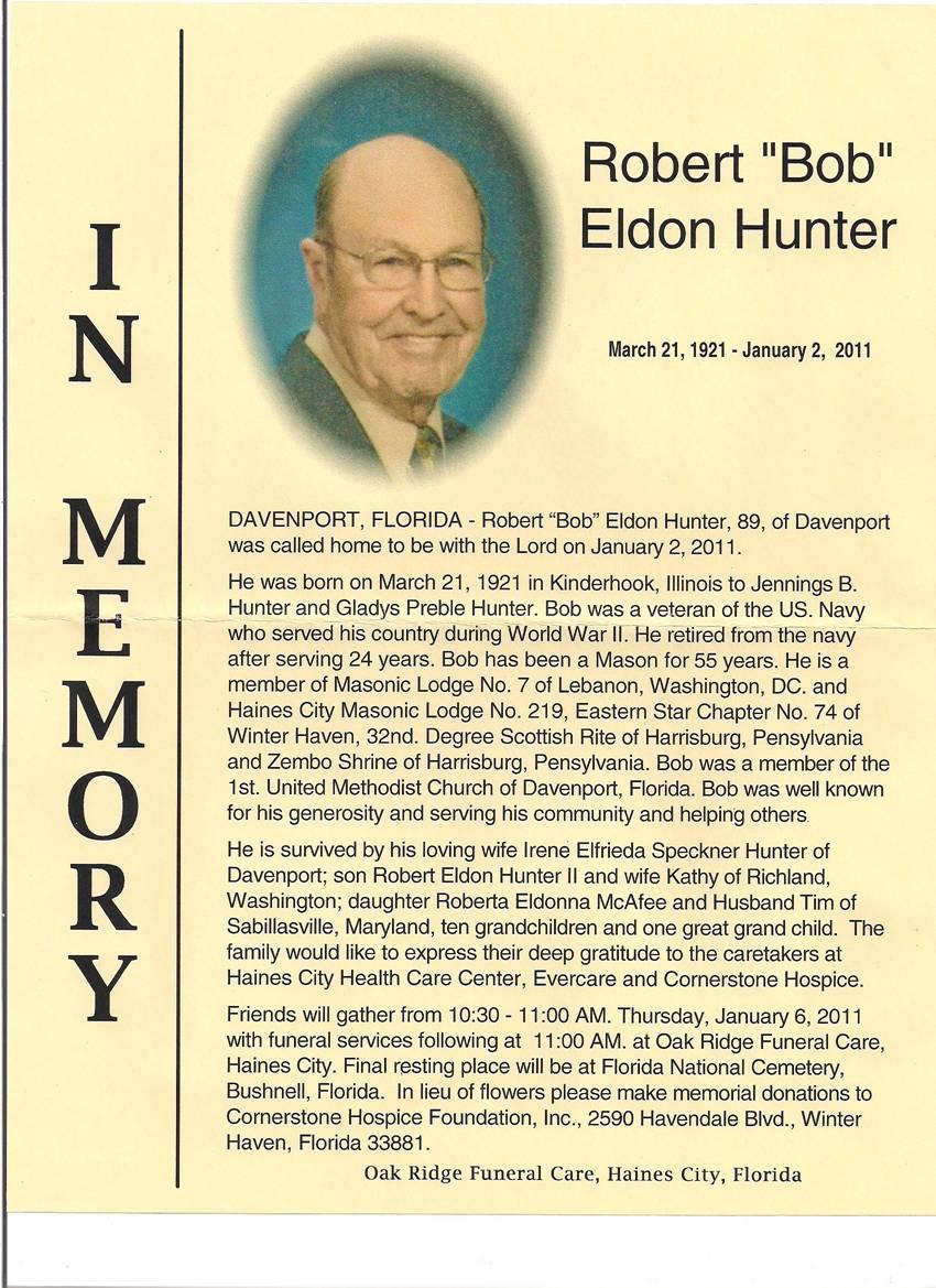 Robert Eldon Hunter Photo Obituary